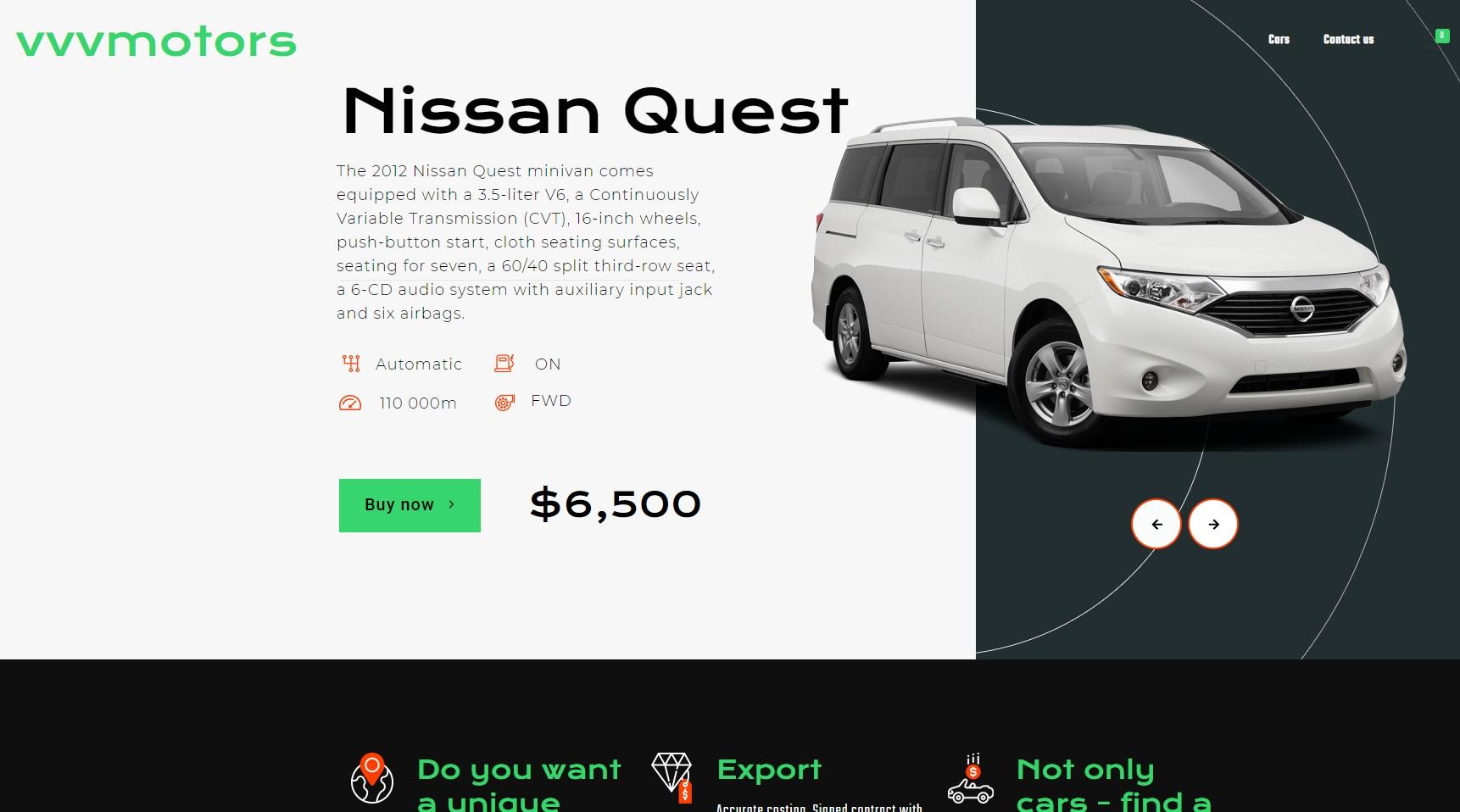 создание сайта продажи автомобилей